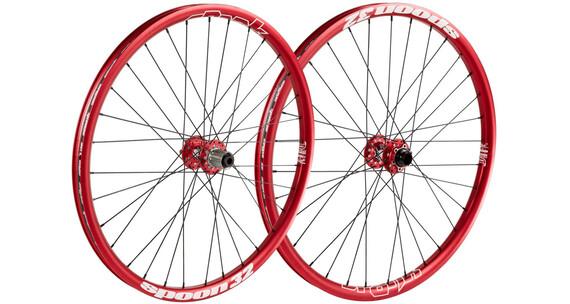 """Spank Spoon32 EVO wiel 26"""" voorwiel: 20/110 mm, achterwiel: 12/150 mm rood"""